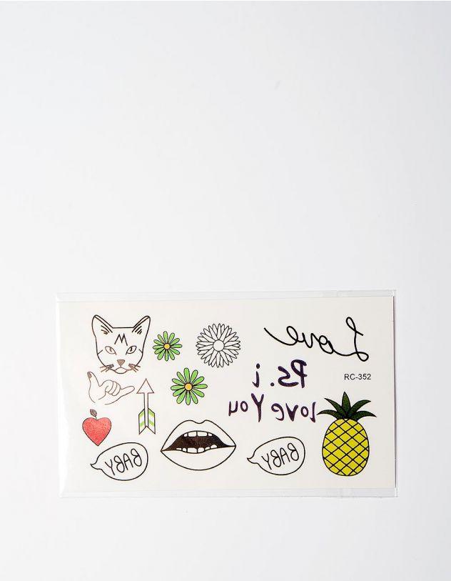Татуировка временная с кошкой и ананасом | 224875-21-XX