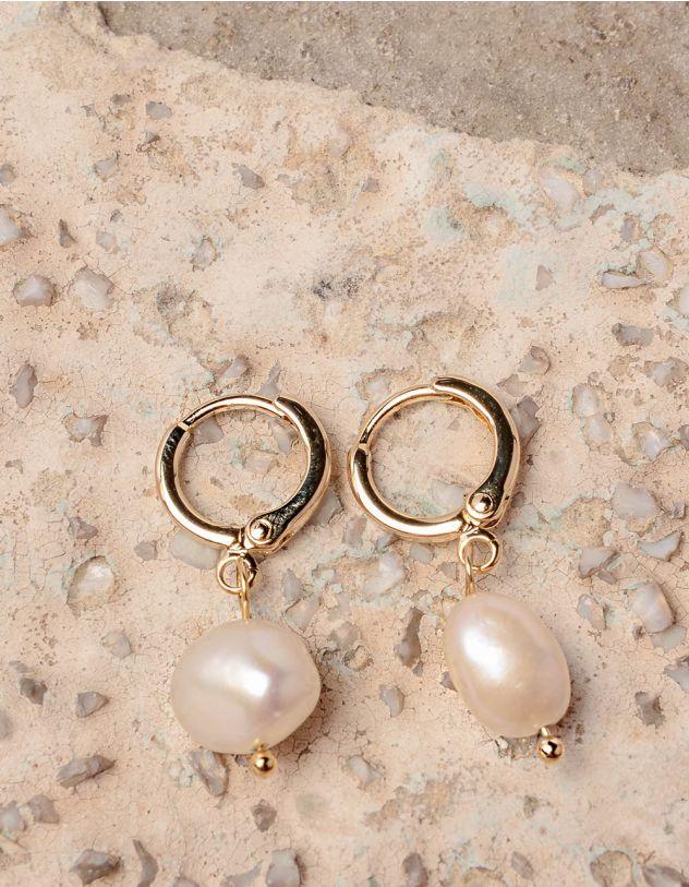 Сережки кільця маленькі з перлинами | 237616-08-XX - A-SHOP