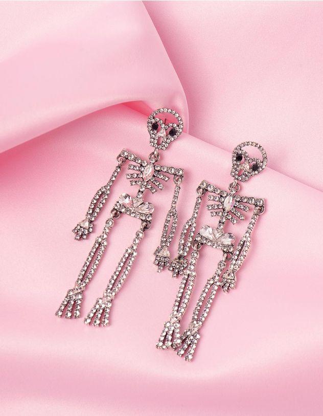 Сережки у вигляді скелетів декоровані стразами   246060-06-XX - A-SHOP