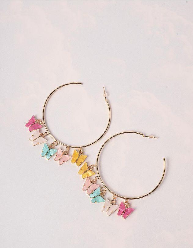 Сережки кільця з кольоровими метеликами | 246182-04-XX - A-SHOP