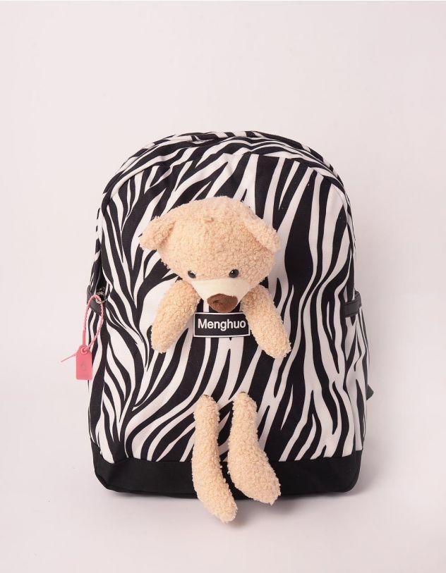 Рюкзак з тваринним принтом та ведмедиком | 248986-02-XX - A-SHOP