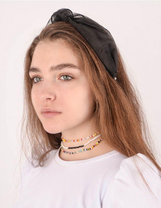 Обідок для волосся з вузлом та перлинами | 243770-02-XX - A-SHOP