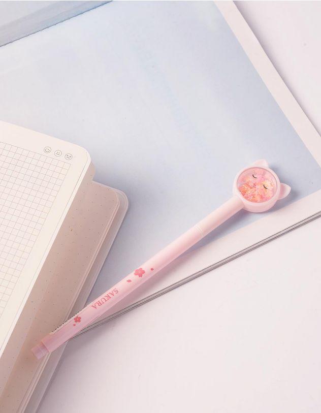 Ручка з ковпачком у вигляді кицьки з блискітками | 240495-14-XX