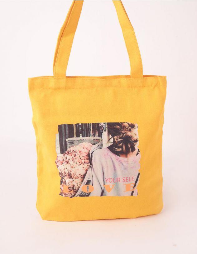 Сумка шопер  на літо з принтом дівчини з квітами та написом | 244569-19-XX - A-SHOP