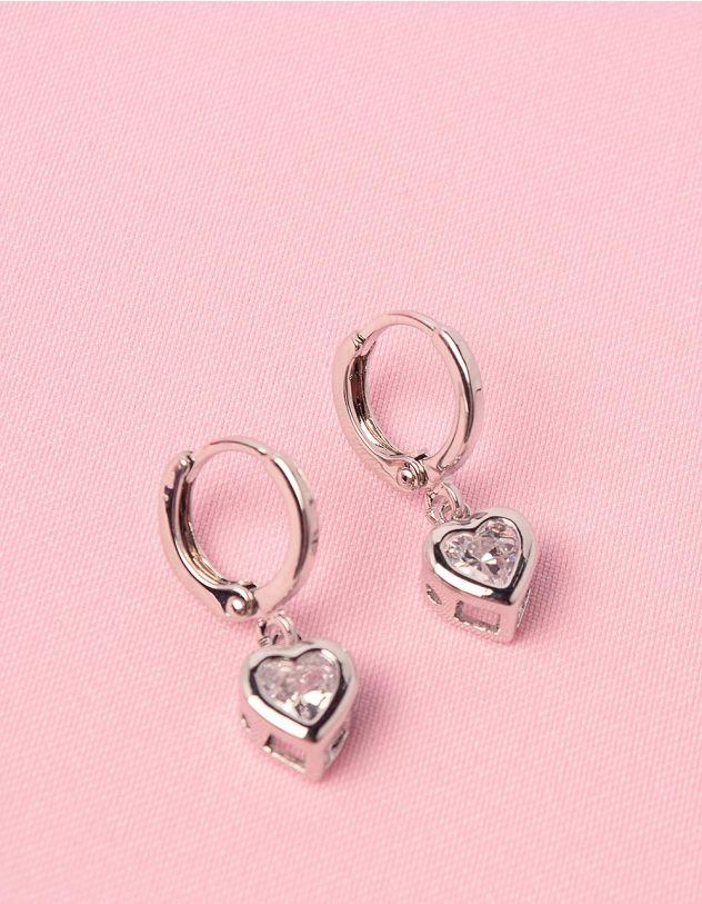 Сережки з кулонами у вигляді сердець зі стразами   250361-06-XX - A-SHOP
