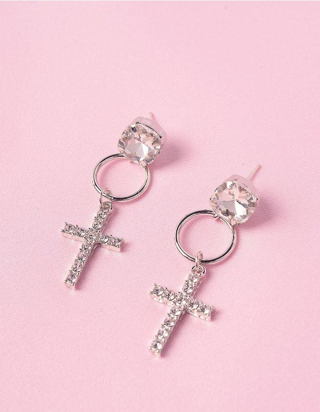 Сережки з хрестами у стразах | 246676-06-XX - A-SHOP