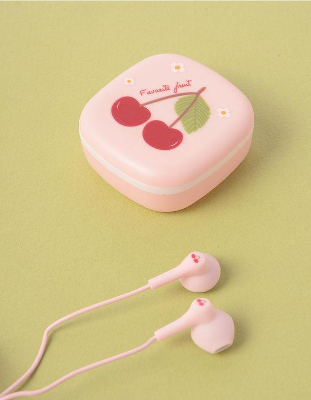 Навушники з принтом вишні на чохлі | 248165-14-XX - A-SHOP