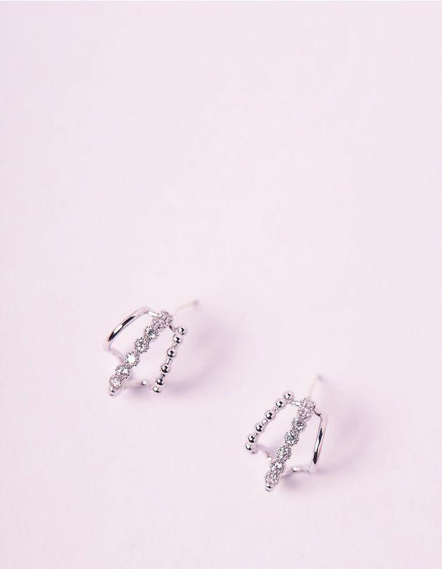 Сережки з пусетами інкрустовані стразами | 241242-06-XX - A-SHOP