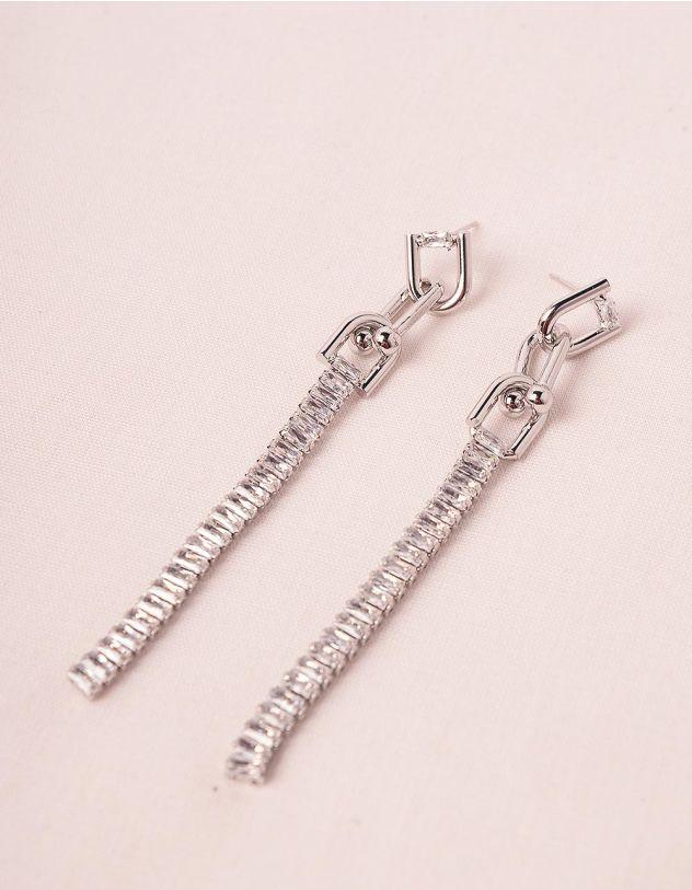 Сережки довгі у вигляді ланцюга зі стразами | 249391-06-XX - A-SHOP