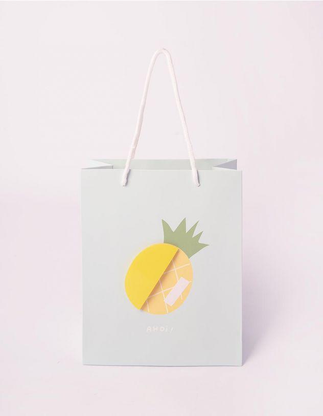 Пакет подарунковий з принтом фруктів | 240700-18-XX