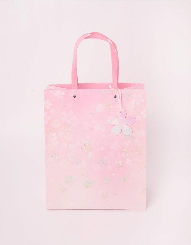 Пакет подарунковий з принтом квітів | 244135-14-XX - A-SHOP