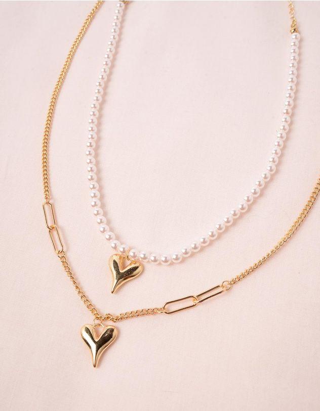 Підвіска на шию подвійна із перлин з кулонами у вигляді серця | 249213-08-XX - A-SHOP