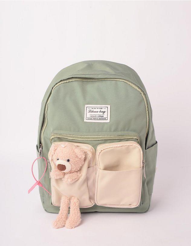 Рюкзак молодіжний з ведмедиком на кишені | 243058-37-XX - A-SHOP