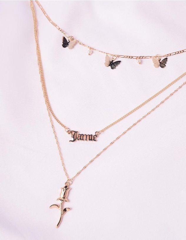 Підвіска на шию багатошарова з кулонами у вигляді метеликів та троянди | 245889-04-XX - A-SHOP