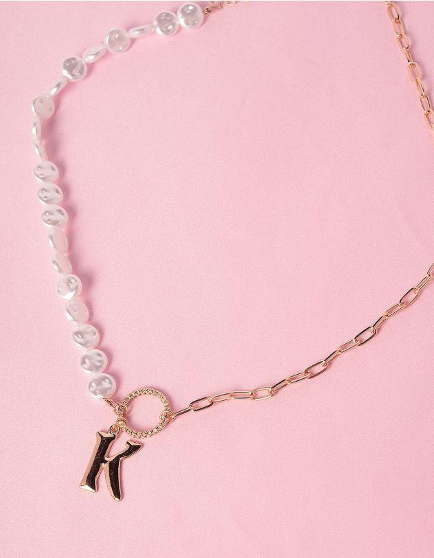 Підвіска на шию із ланцюжка та перлин з кулоном у вигляді літери К | 247370-08-XX - A-SHOP