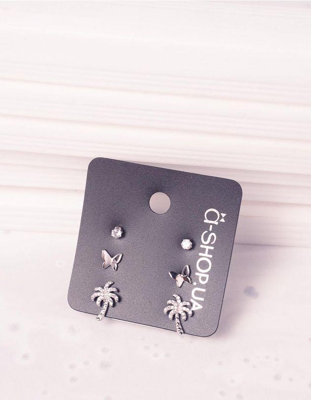 Сережки пусети у наборі з пальмами та метеликами   242816-06-XX - A-SHOP