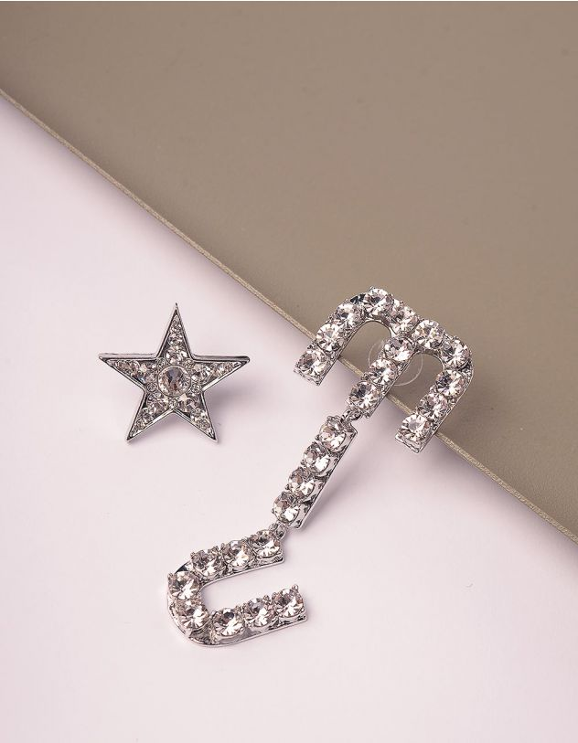 Сережки у вигляді зірки зі стразами | 245946-06-XX - A-SHOP