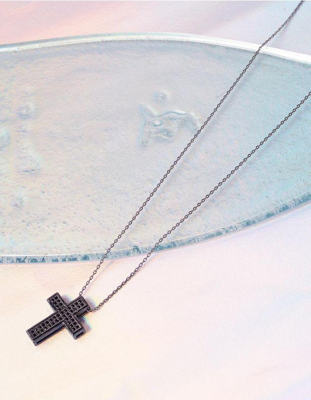 Підвіска з хрестиком декорованим камінцями | 237128-02-XX - A-SHOP
