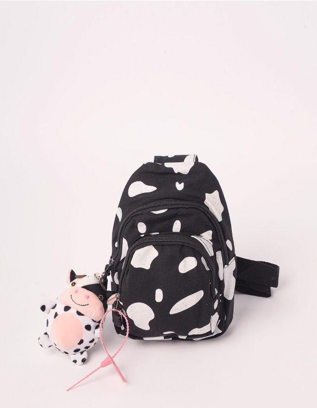 Рюкзак для прогулянок з плямами та брелоком у вигляді корівки | 244060-02-XX - A-SHOP