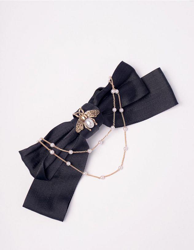 Шпилька для волосся з бантом декорованим перлинами та комахою | 246791-09-XX - A-SHOP