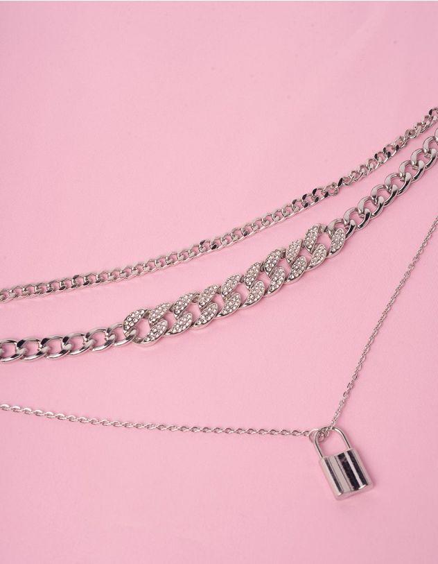 Підвіска на шию із ланцюжків багатошарова з кулоном у вигляді замка   245863-06-XX - A-SHOP