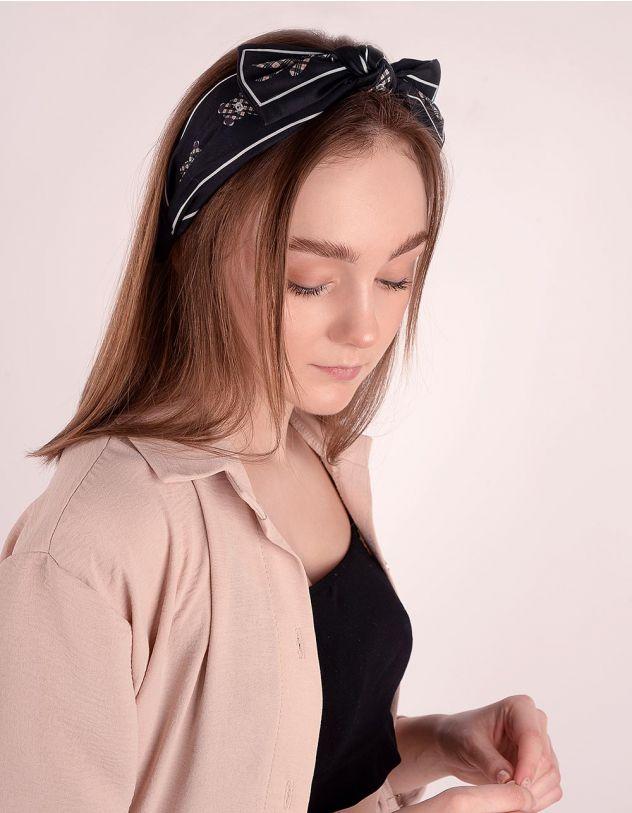 Обідок для волосся з принтом ведмедиків та смужками | 246576-02-XX - A-SHOP