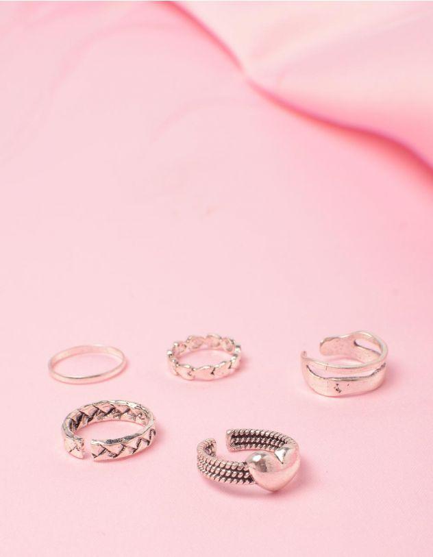 Кільця у наборі з плетінням та серцями | 249574-05-XX - A-SHOP