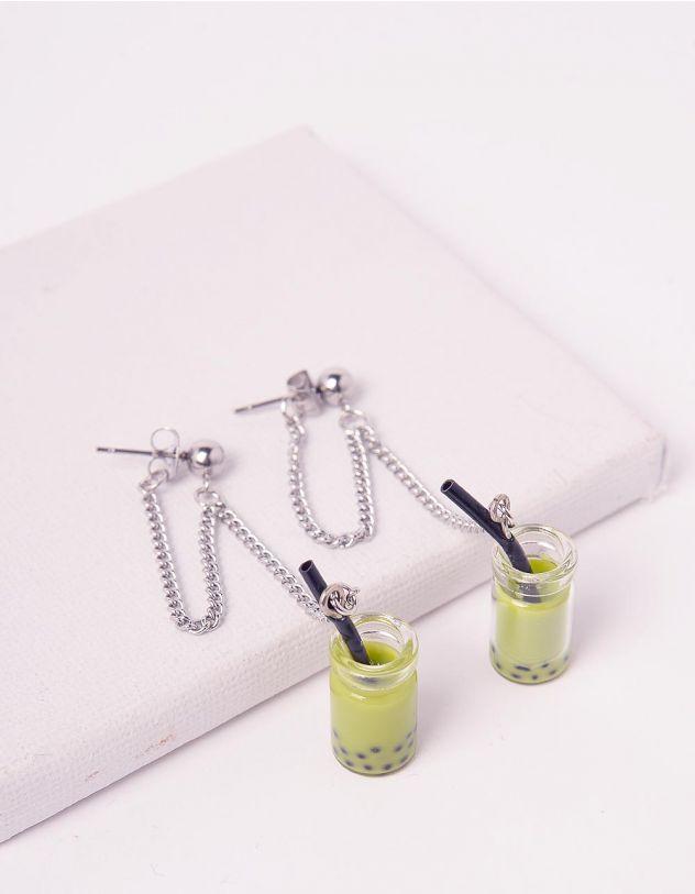 Сережки довгі з кулонами у вигляді пляшечки з напоєм | 243561-37-XX - A-SHOP