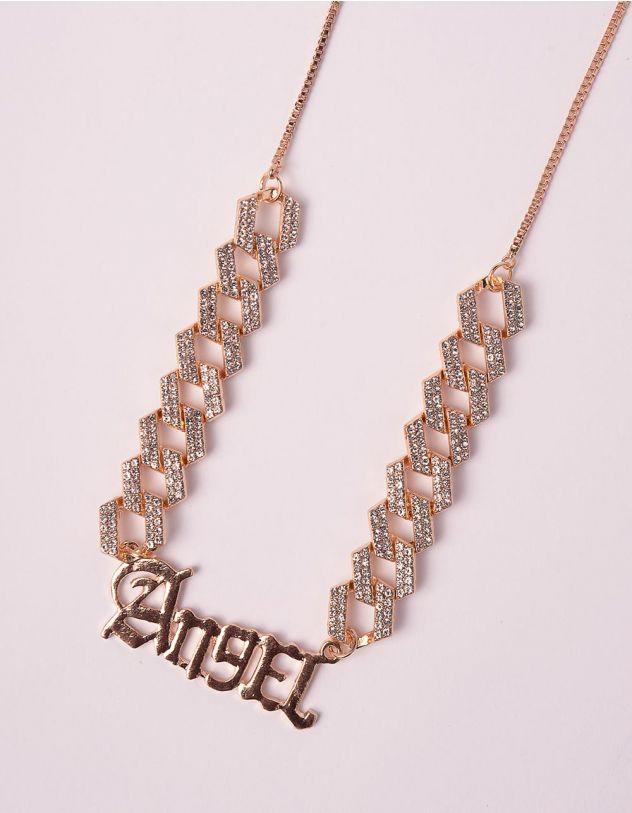 Чокер на шию у вигляді ланцюжка з написом Angel | 246044-08-XX - A-SHOP
