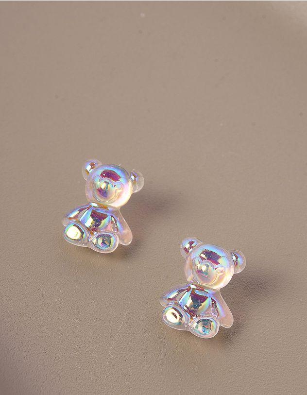 Сережки з гвіздочками голографічні у вигляді ведмедиків   244160-01-XX - A-SHOP