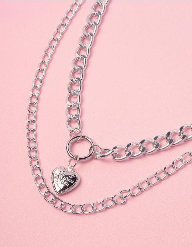 Підвіска на шию з подвійного ланцюга та з медальоном у вигляді серця | 238069-05-XX - A-SHOP