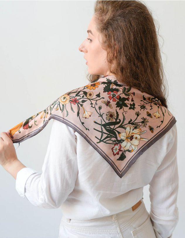 Хустка на шию з малюнком квітів | 247868-22-XX - A-SHOP