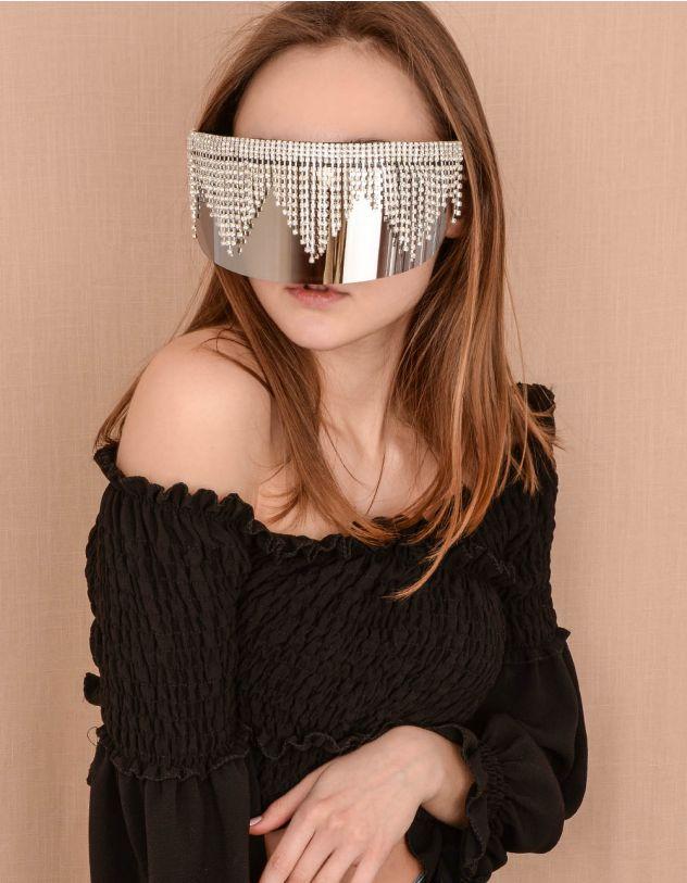 Окуляри маска дзеркальні з ланцюжками із страз | 239832-02-XX