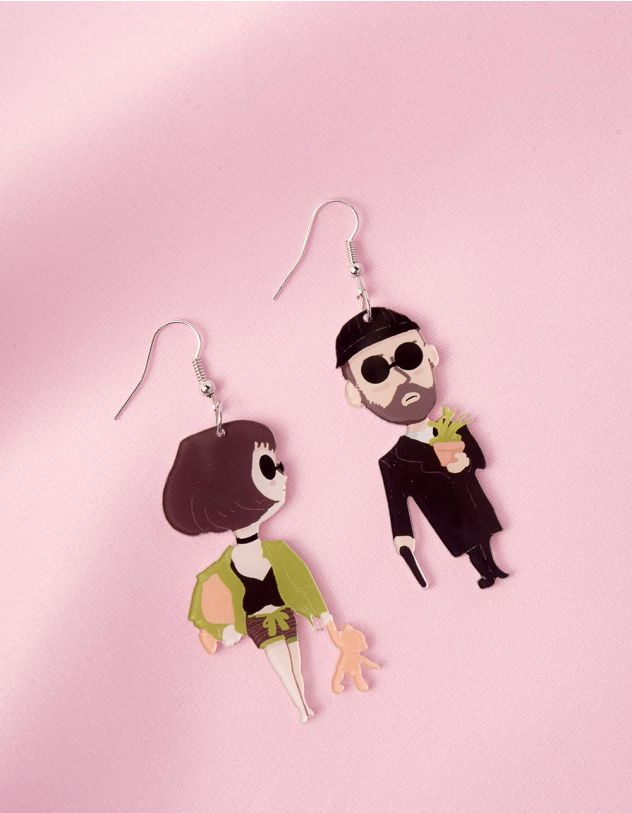 Сережки із зображенням Леона та Матільди   247249-02-XX - A-SHOP