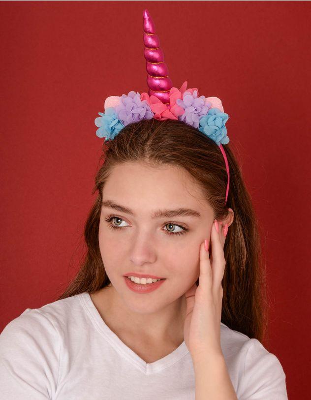 Обідок для волосся у вигляді єдинорога з квітами | 238771-18-XX - A-SHOP