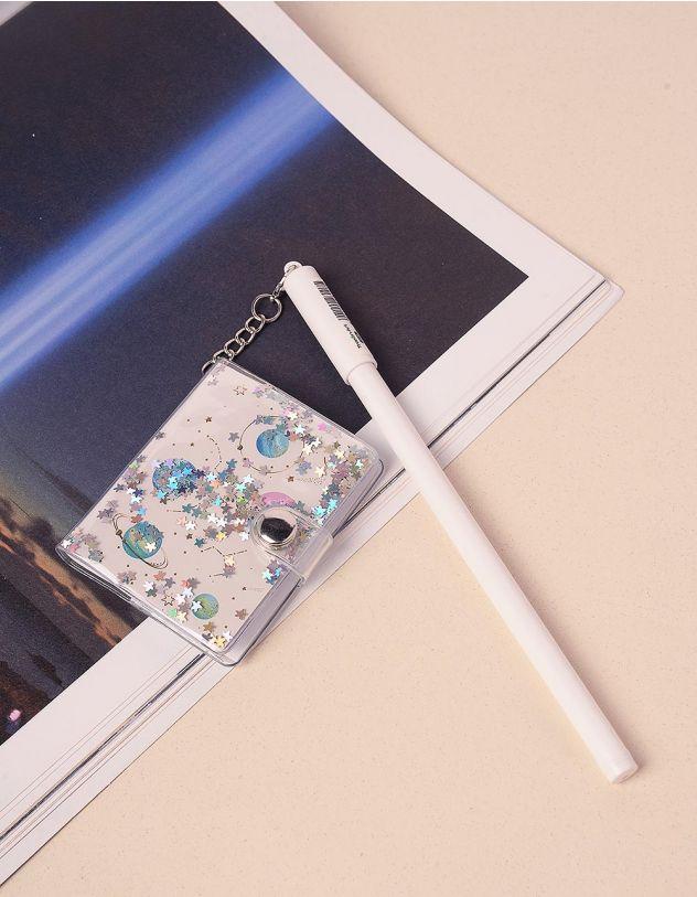 Ручка з блокнотом на ковпачку із космічним принтом | 239083-01-XX