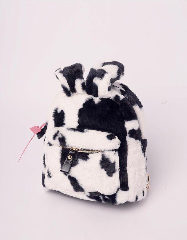 Рюкзак для прогулянок хутряний з вушками та принтом корівки | 244942-02-XX - A-SHOP