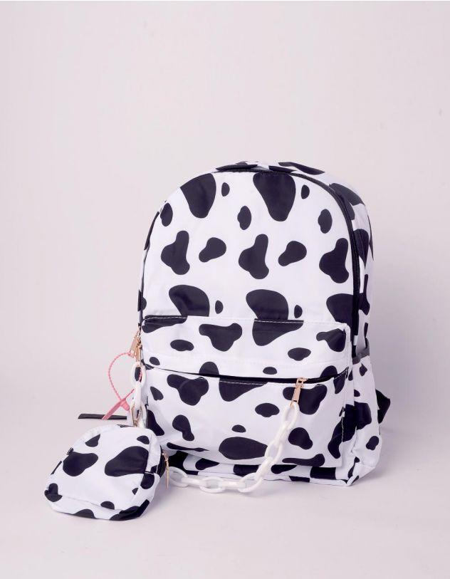 Рюкзак у комплекті із сумочкою на ланцюгу з принтом корови | 243056-01-XX - A-SHOP