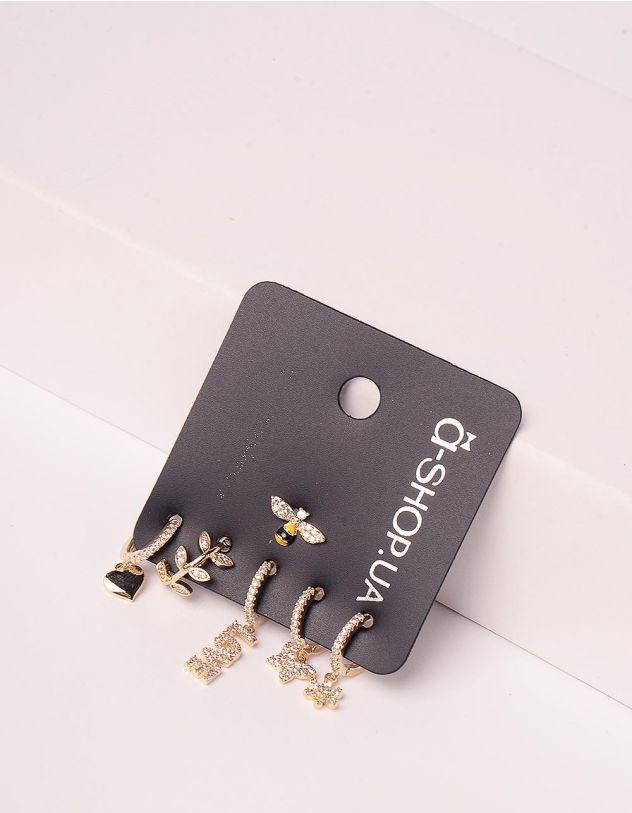 Сережки у наборі з кулонами у вигляді бджілки та метилика   246160-08-XX - A-SHOP