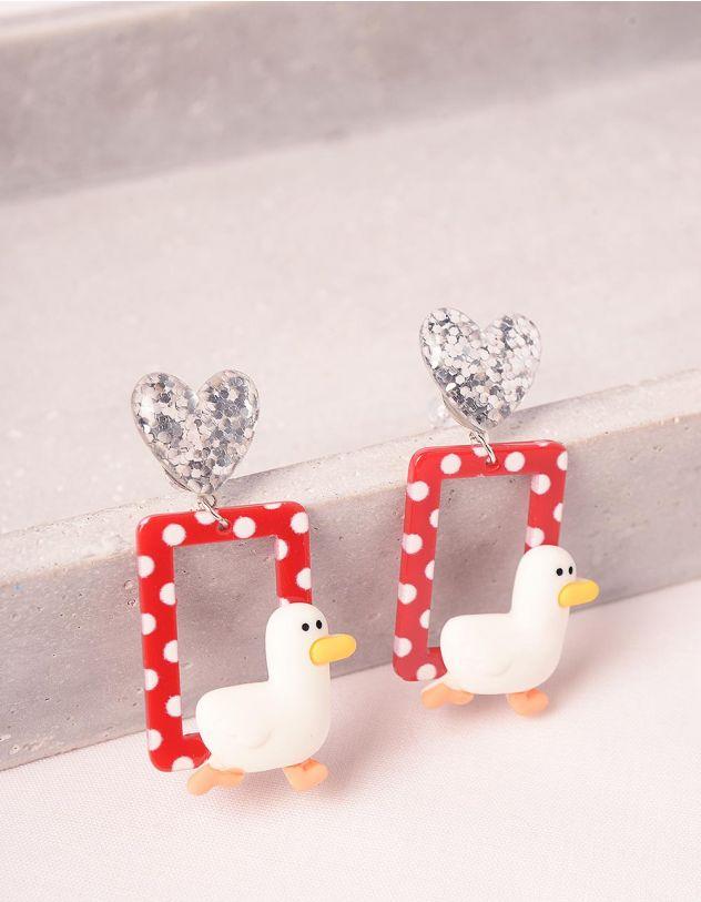 Сережки у вигляді сердець з качечкою | 249087-15-XX - A-SHOP