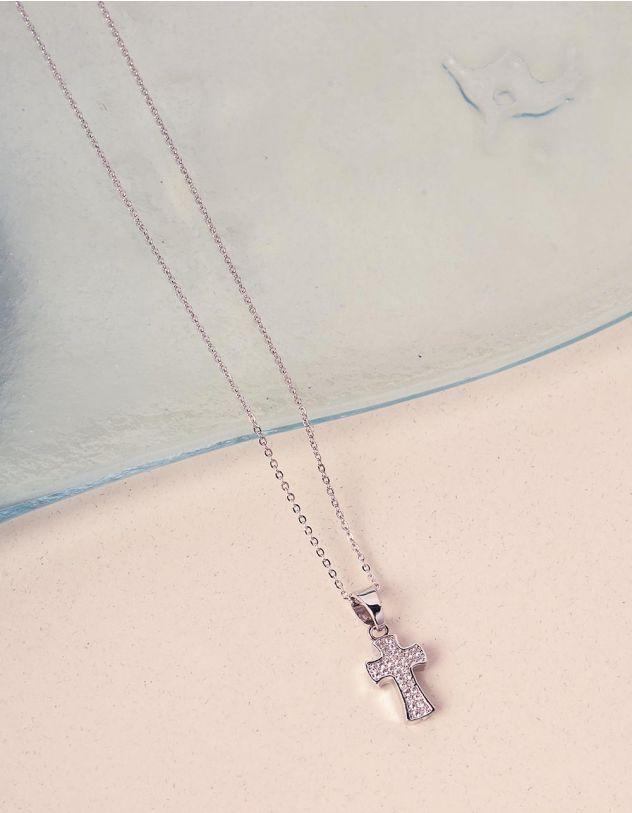 Підвіска на шию з хрестиком декорованим камінцями | 240925-06-XX - A-SHOP