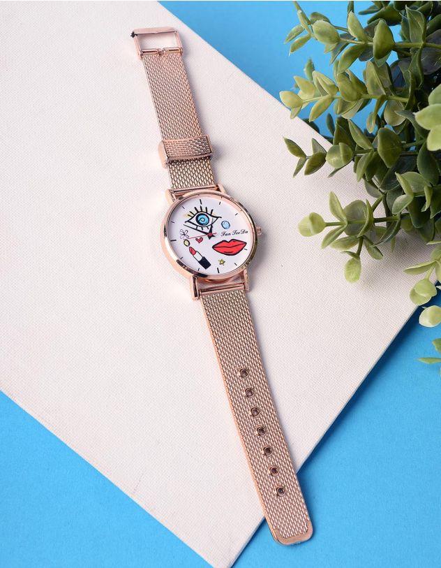 Годинник на руку з малюнком обличчя та помади | 235320-69-XX - A-SHOP