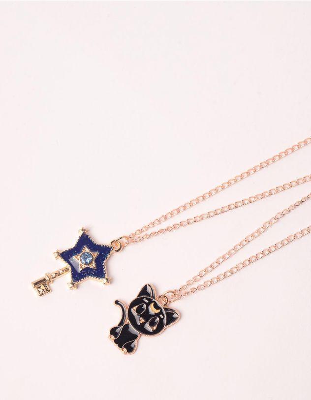 Підвіска на шию best friends з кулонами у вигляді киці та ключа | 248054-21-XX - A-SHOP