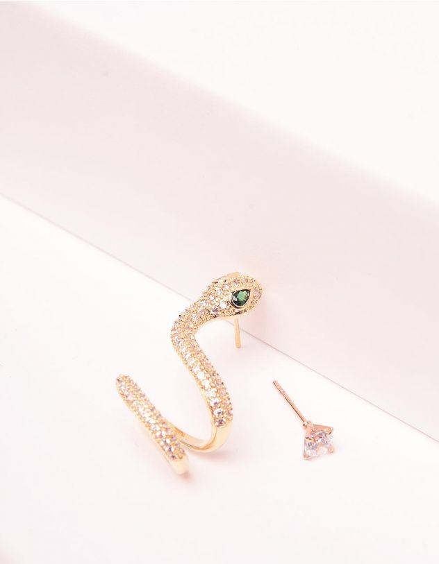Сережки з пусетами у вигляді змійки | 243462-08-XX - A-SHOP