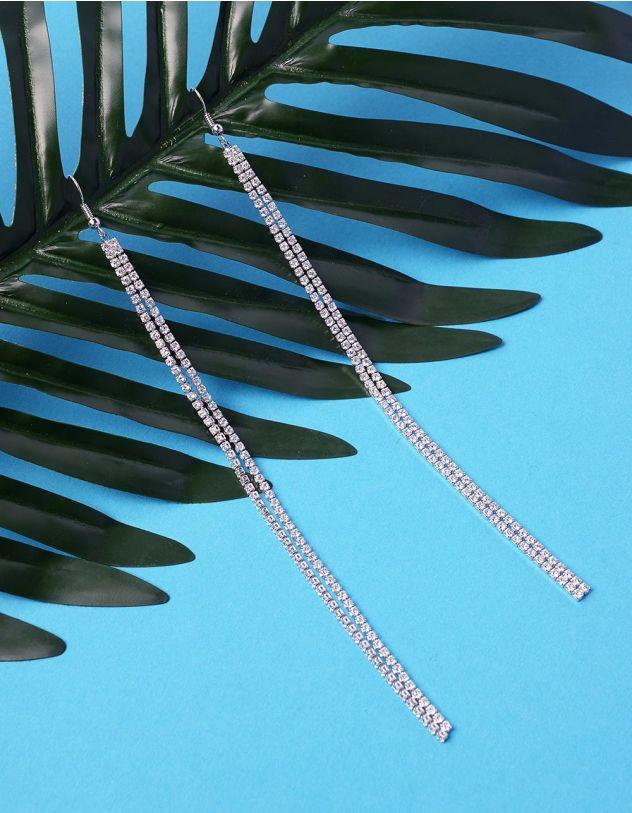 Сережки довгі подвійні інкрустовані стразами | 235968-06-XX - A-SHOP