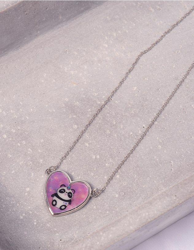 Підвіска на шию з принтом панди на кулоні у вигляді серця | 243206-03-XX - A-SHOP