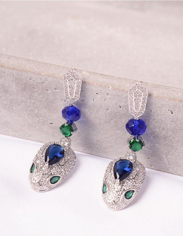 Сережки подовжені  інкрустовані камінням | 247693-61-XX - A-SHOP