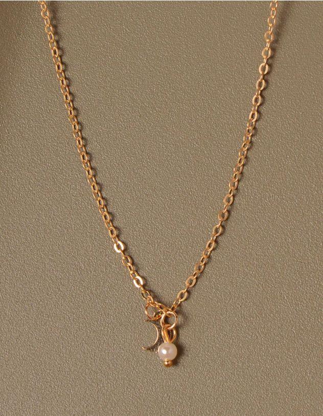 Підвіска з кулоном у вигляді напівмісяця та перлиною | 233348-04-XX - A-SHOP