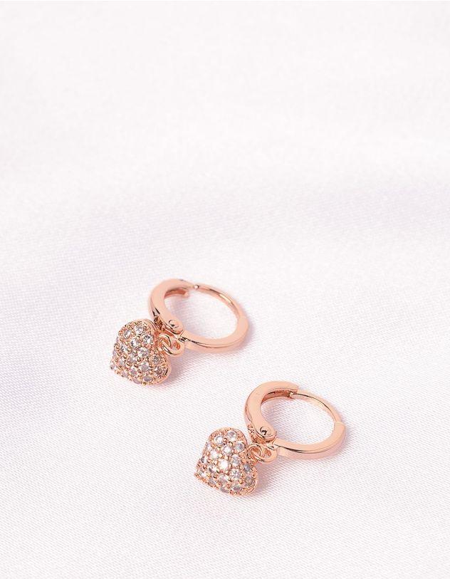 Сережки кільця з кулонами у вигляді сердець зі стразами | 241423-08-XX - A-SHOP