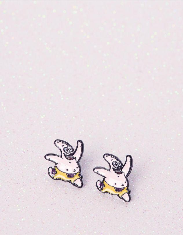 Сережки пусети спанч боб | 240791-14-XX - A-SHOP